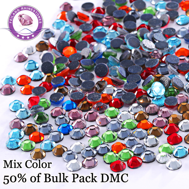 Mix Color Stones And Crystal Glass DMC Hotfix Rhinestones For Clothing Accessories DIY Decoration Iron On Flatback Strass