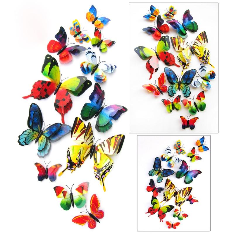 12pcs 3D Butterfly Sticker Art Decal Wall Mural Stickers ...