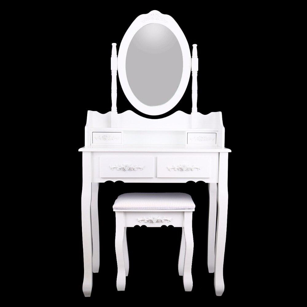 (Ship from Germany) Wooden Dressing Table With Mirror Stool Makeup Desk dresser bedroom ship from germany home white dressing table with mirror and stool make up dresser set