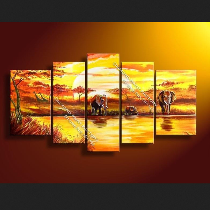 Dpf Special Offer Real Cross-stitch South African Sunset Craft 3d For Square Dill Mosaic Embroidery Multi-pictures Decorative