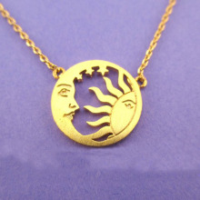 Minimalism Crescent Moon and Sun Pendants Necklaces Women Stainless Steel Star Charm Gold