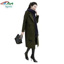 JQNZHNL 2017 New Medium Long Women Wool Blends Jackets Fashion Embroidered Woolen Coats High-end Female Casual Woolen Coats E723