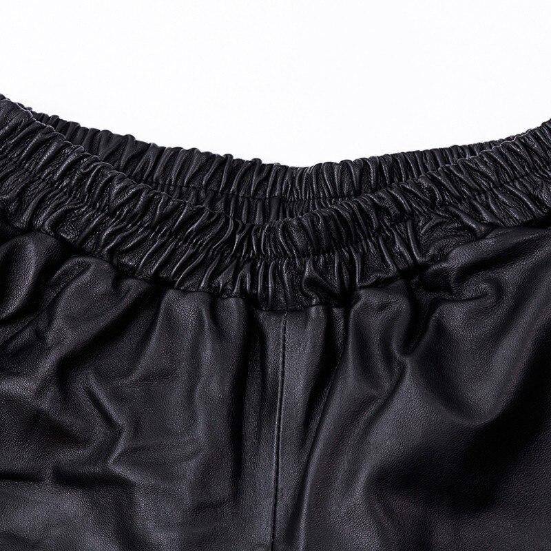 Pantalon Dame Femmes Bas Large Streetwear Véritable Taille Lâche Noir Mouton Baggy Réel Grande Décontracté Peau Cuir En Black De À Lacets PpSwpntq