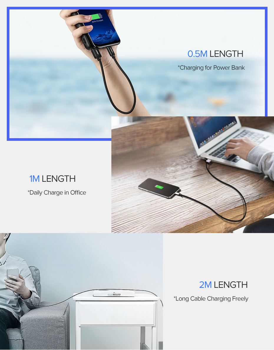 Ugreen USB Type C Cable And Mobile Phone Charging Cable For Fast Charge 15