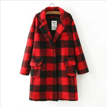 New Autumn Winter in the long artificial wool coat 2016 fashion red plaid coat lapel coat women