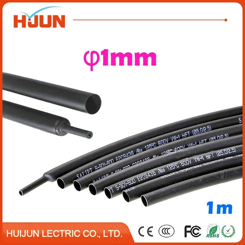 1 Meter/lot 2:1 Black 1mm Diameter Heat Shrink Tube Heatshrink Tubing Transparent Sleeving Wrap Wire