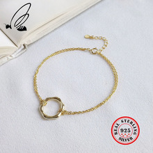 100% 925 Sterling Silver Simple Geometric Sexangle Charm Bracelets For Women Fine Jewelry Round & Bangles
