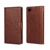 PU Leather Mobile Phone Case For Sony Xperia Z5 mini Phone Bag Fashion Wallet Flip Stand Cover With Card Slot Back Shell Skin