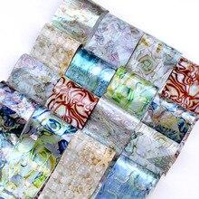 16 Pcs Holographic Gradient Nail Foil Set Laser Marble Shell Manicure DIY Tips Art Transfer Sticker