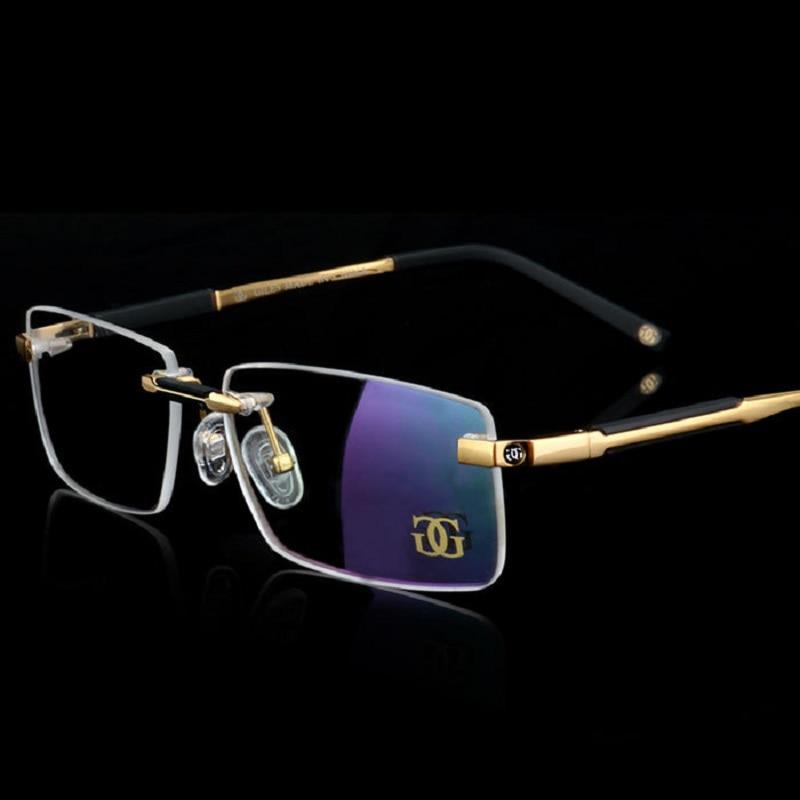 Vazrobe Gold Glasses Men Rimless Brand Eyeglasses Frames for Man Prescription optical lens myopia/diopter spectacles designer