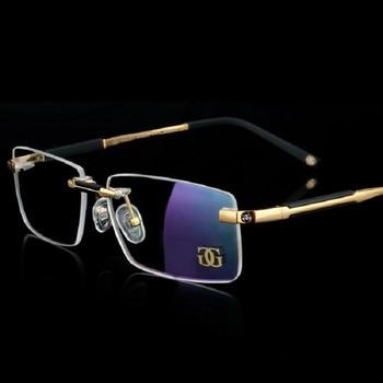c74eb4fc9d Vazrobe gafas de oro para hombre monturas de gafas de marca sin montura para  hombre lentes ópticas de prescripción miopía/gafas de dióptero de diseñador