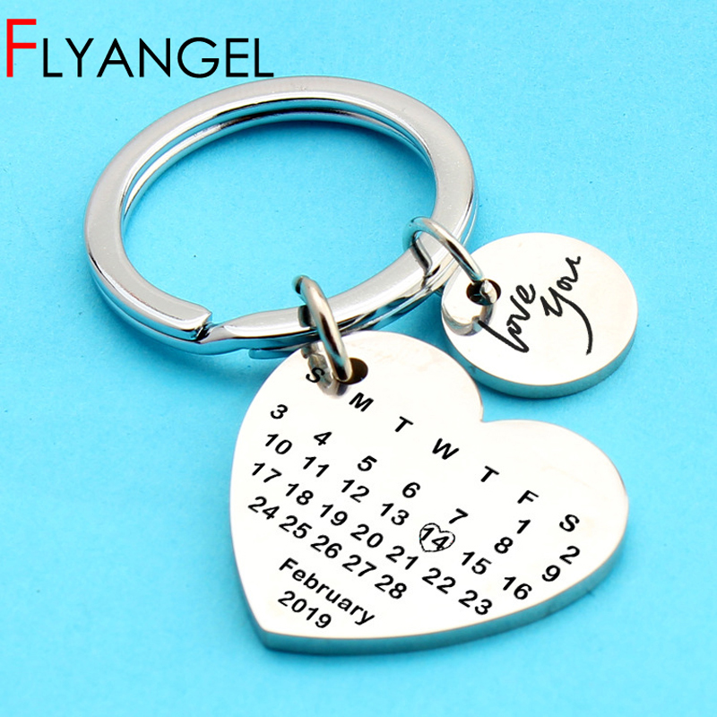 Personalized calendar key chain save special date heart