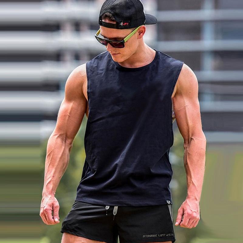 BORRUICE E 2018 Summer Bodybuilding Pure Color   Tank     Tops   Men Vest Bodybuilding Clothing And Fitness Men Sportswear Undershirt