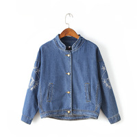 Early Autumn New Bat Sleeve Embroidery Stand Collar Denim Small Outside Europe And America Sets Loose