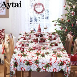 Aytai New Year White Table Cloth Beautiful Christmas Flowers Rectangular Table Cloth Tablecloths Christmas Items Table Cover