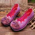 2016 spring and autumn new folk style flat shoes leather shoes retro round soft bottom shoes flowers Doug personality