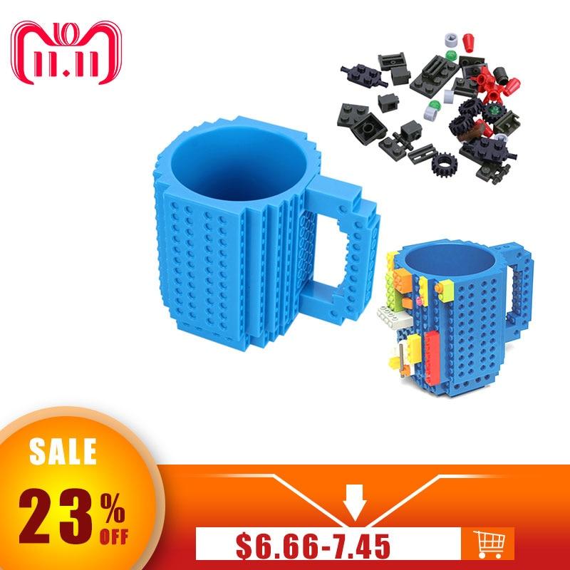Kreative Bauen-Auf Ziegel Becher Typ Bausteine kühl Kaffee Tasse Diy Block Puzzle Tassen 12 unze 350 ml weihnachten Geschenk