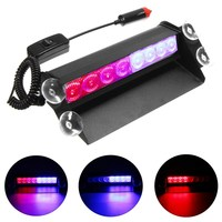 12V 8LED Brake Lights LED Car Flash Light Windshield Sucker Rear Glass Auto Emergency Warning Lamp Red&Blue