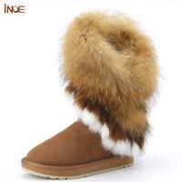 INOE/корова замша меха лисы зимняя женская зимняя обувь; зимние сапоги кисточками с кроличьим мехом обувь Обувь на плоской подошве черного и к