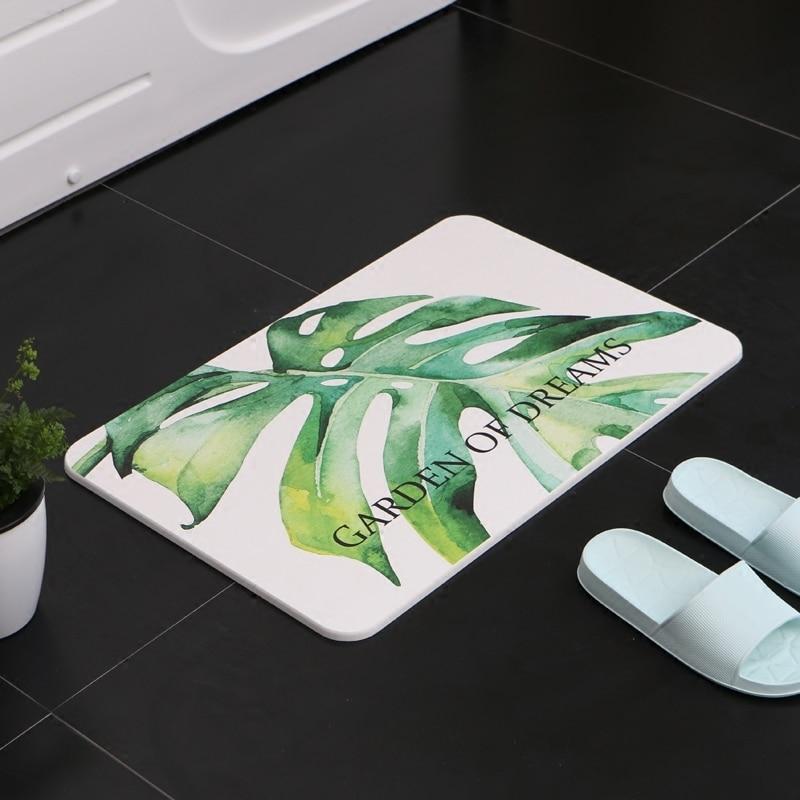 Newest Diatom Mud Foot Mat Bathroom Anti slip Carpet Absorbent Water Door Floor Mat Leaf Design Japan Style Toilet Pad