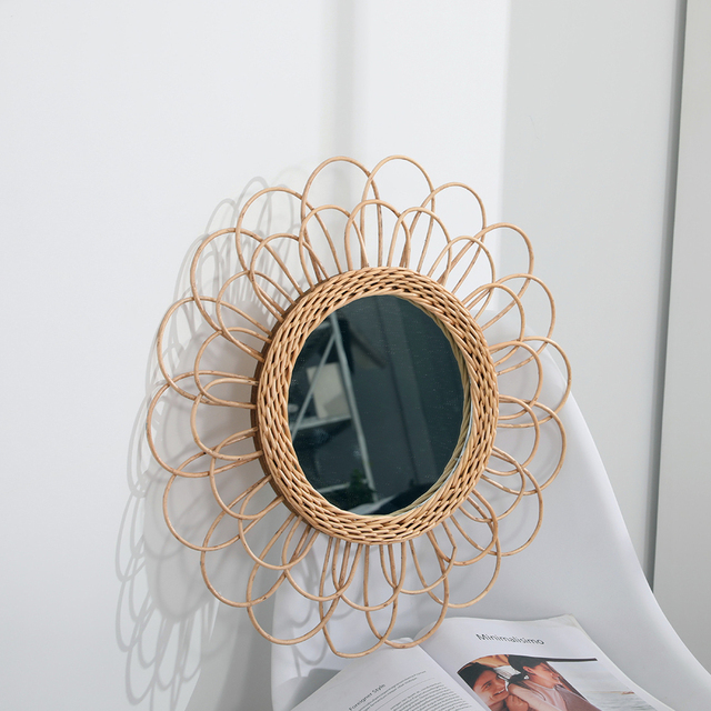 Compact Wall Hanging Mirror Clear Round Space Saving Rattan Dressing Mirror Portable Interior Gifts Art Decor Living Room Home 4