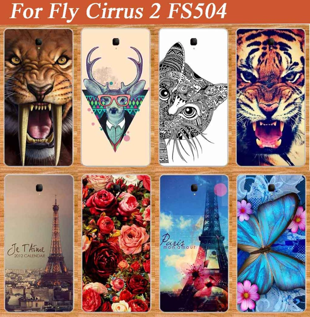 Fashion Cartoon Painting SOFT TPU Phone Cover For Fly FS504 Cirrus 2 Case for fly FS504 with roses flowers Owl cat Towers design