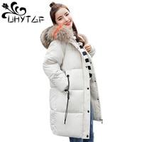 UHYTGF Big fur collar Hooded Cotton Jacket Big size 2018 Winter Warm Women Parka Long Coat Plus size Thick Down Cotton Jacket 19