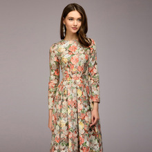 2018 Nwe Women Printing Long Dress Elegant O-neck Sleeve Bohemian Style Party For Lady Fall Winter