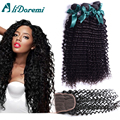 Brazilian Virgin Hair With Closure Deep Wave curly With Closure Human Hair Bundle With Lace Closure Brazilian Virgin  curly Hair