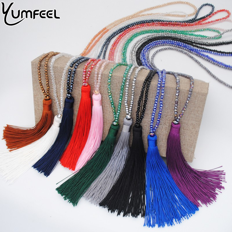 Yumfeel New Tassel Necklace 10 Colors Choice Silk Tassel Glass  Beads Crystal Necklaces 90cm Long Necklace Women Gifts Jewelry