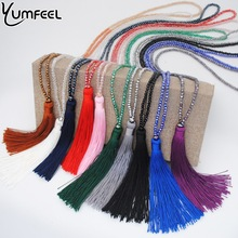 Yumfeel New Tassel Necklace 10 Colors Choice Silk Tassel Glass  Beads Crystal Necklaces 90cm Long Necklace Women Gifts Jewelry(China)