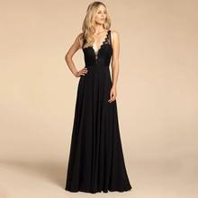 Eightree A line Elegant Evening Dress Sleeveless V Neck Prom Dresses vestido de festa longo  Romantic Lace Top