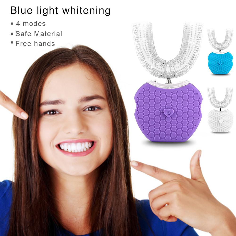 360 degrés brosse à dents électrique sonique automatique intelligente Type U brosse à dents USB charge blanchiment des dents lumière bleue