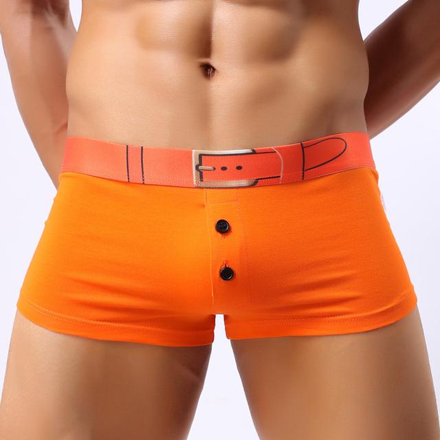 Bragas masculinas tronco masculino mediados de cintura de moda de color sólido de algodón transpirable que absorbe el sudor boxer shorts men underwear decorativos