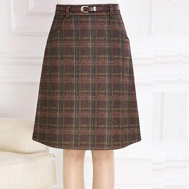 099cf1b89b Skirts Womens 2016 Autumn Winter Woolen Skirt Casual Slim A-line Plaid Midi  Skirts Female