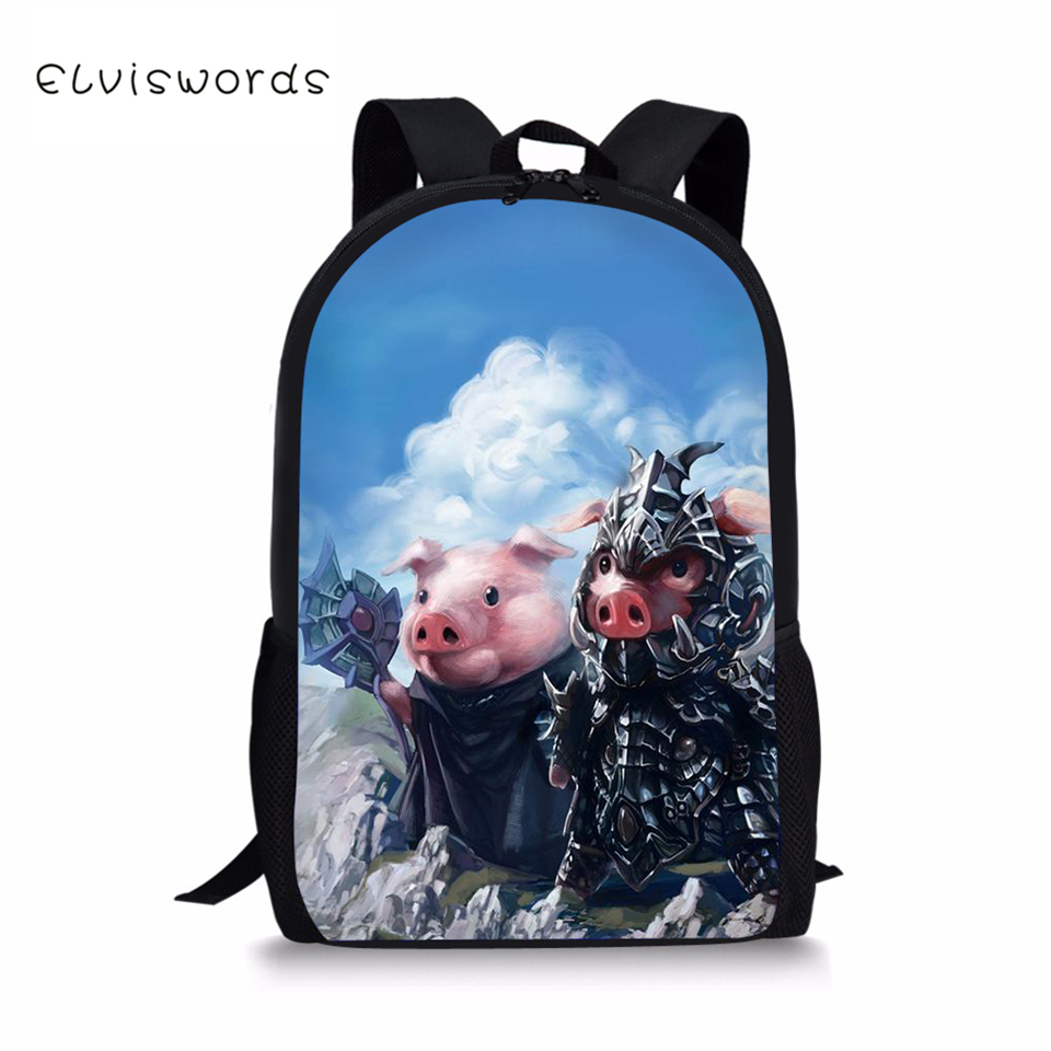 ELVISWORDS Kids Fashion Backpack The Little Pigs Pattern Children 39 s School Bag Kawaii Animal Toddler School Bags Women Backpacks in School Bags from Luggage amp Bags