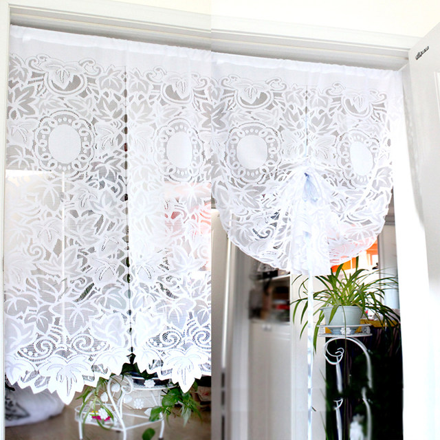 Kitchen Short Curtains Roman Blinds Embroidered Valance Partition Customize White Lace Gauze Drawstring Curtain For Living Room