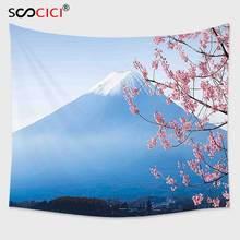 Cutom Гобелены стене, пейзаж Япония азиатском стиле Mountain Фудзи и вишни и озеро kawaguchiko голубой и розовый