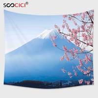 Cutom Tapestry Wall Hanging,Landscape Japan Asian Decor Mountain Fuji and Cherry Blossoms and Lake Kawaguchiko Sky Blue and Pink