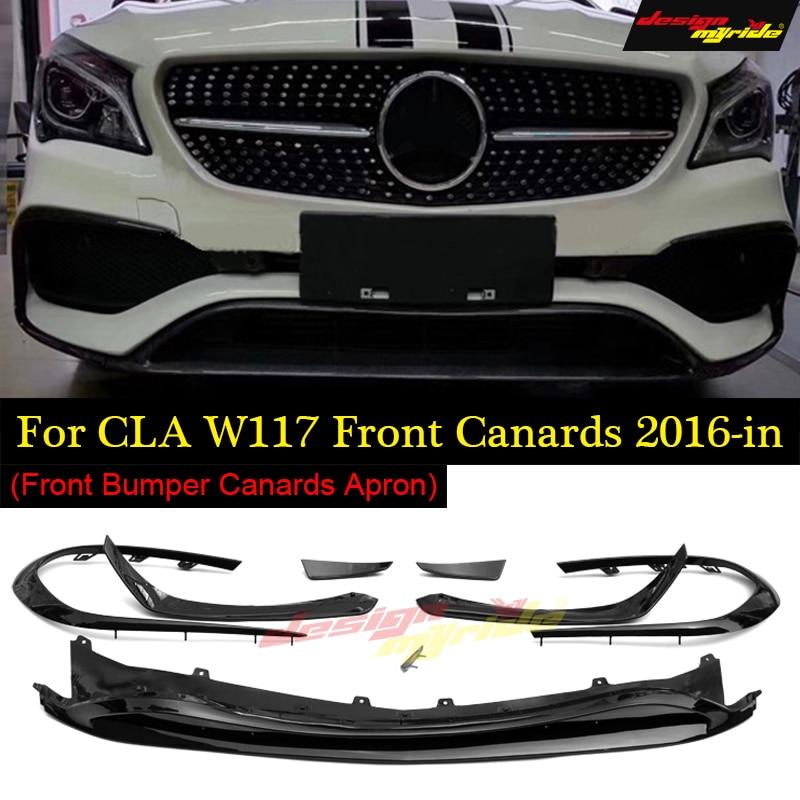 Для CLA W117 передней губы 8 pcs углеродного волокна для CLA W117 cla180 cla200 cla250 для оперения переднего бампера спереди губ Fin спортивные 2016 18
