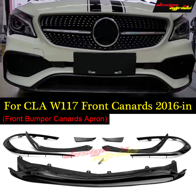 For CLA W117 Anterior lip 8-pcs Carbon fiber CLA-W117 cla180 cla200 cla250 Front Bumper Canards Lip Fin Sports 2016-18