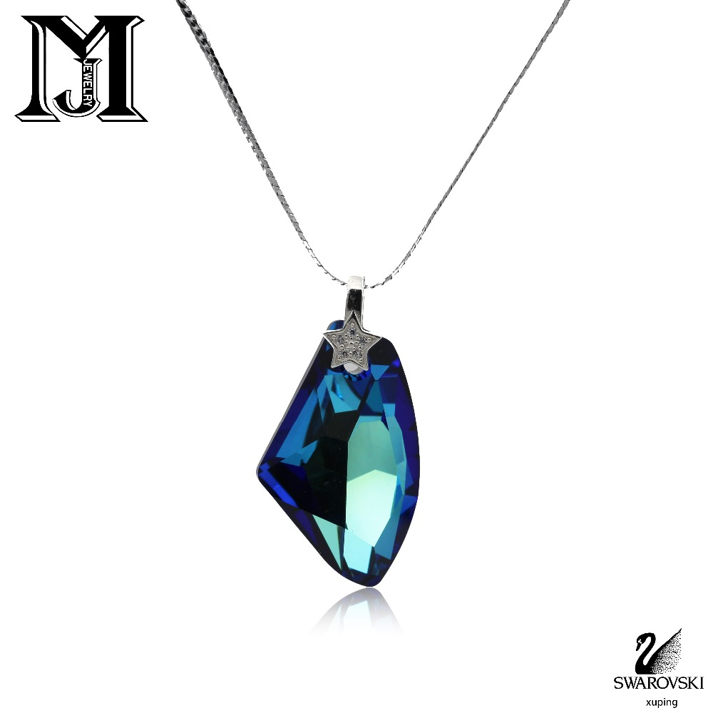 JiaMu romantique chaude Swarovski cristal grand bleu goutte d'eau collier pour wowen cadeau de partie de bijoux de mariage collier