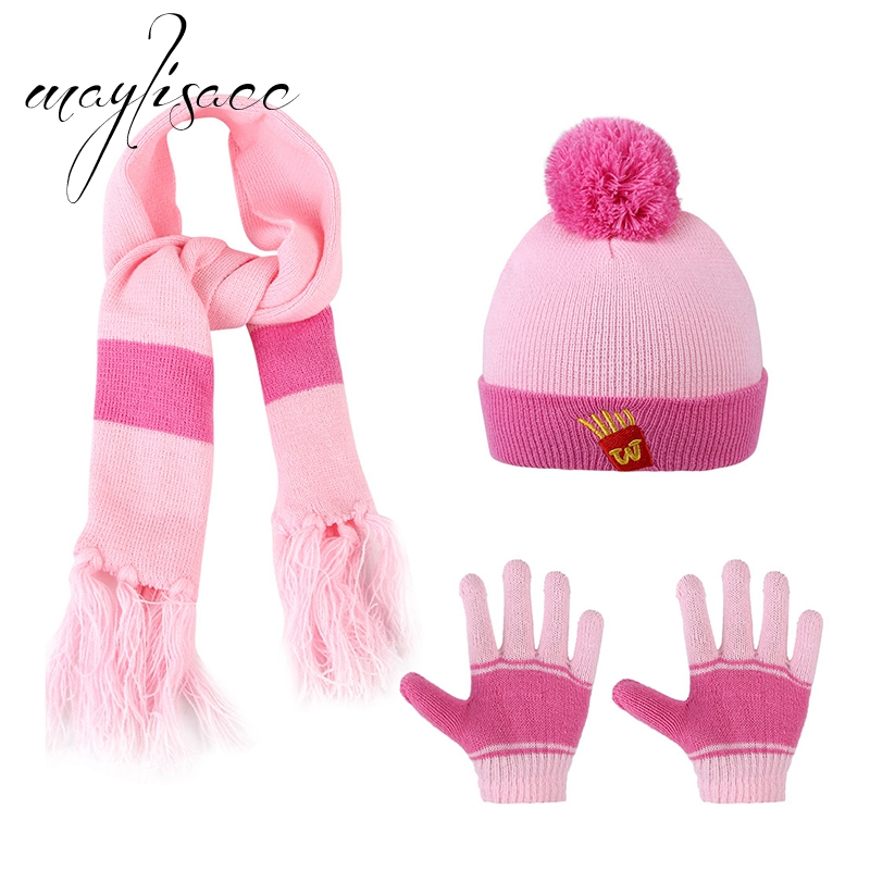 Maylisacc 3 Pcs Cotton Winter Warm Knitted Hat Cap Scarf With Gloves For Children Wool Beanies Gloves For 1-5 Years Old Boy Girl