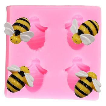 Moldes de silicona con forma de abeja e insectos para cupcakes, molde para Fondant, herramienta de decoración de pasteles de fiesta DIY, molde para pasta de goma y chocolate de arcilla polimérica