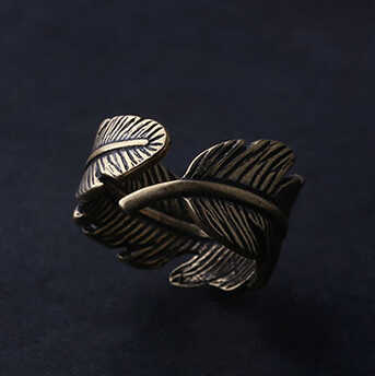 vintage feather Ring  wholesale charms Antique couples Leaf Feather Ring Finger Ring Fashion Jewelry rings for women nj109