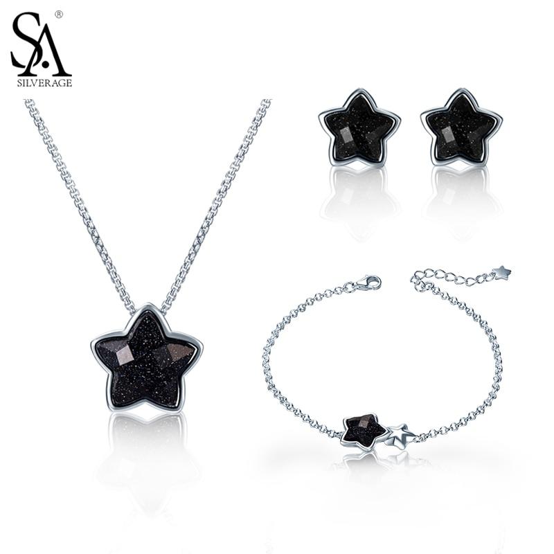 SA SILVERAGE 925 Sterling Silver Star Jewelry Sets Stud Earrings Necklaces Pendants Chain Bracelet for Women