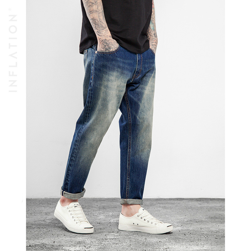 ФОТО Fashion Hip-hop Leisure Men Ankle-length Pants 2017 Spring and Summer Tide Brand Hand Washing Jeans