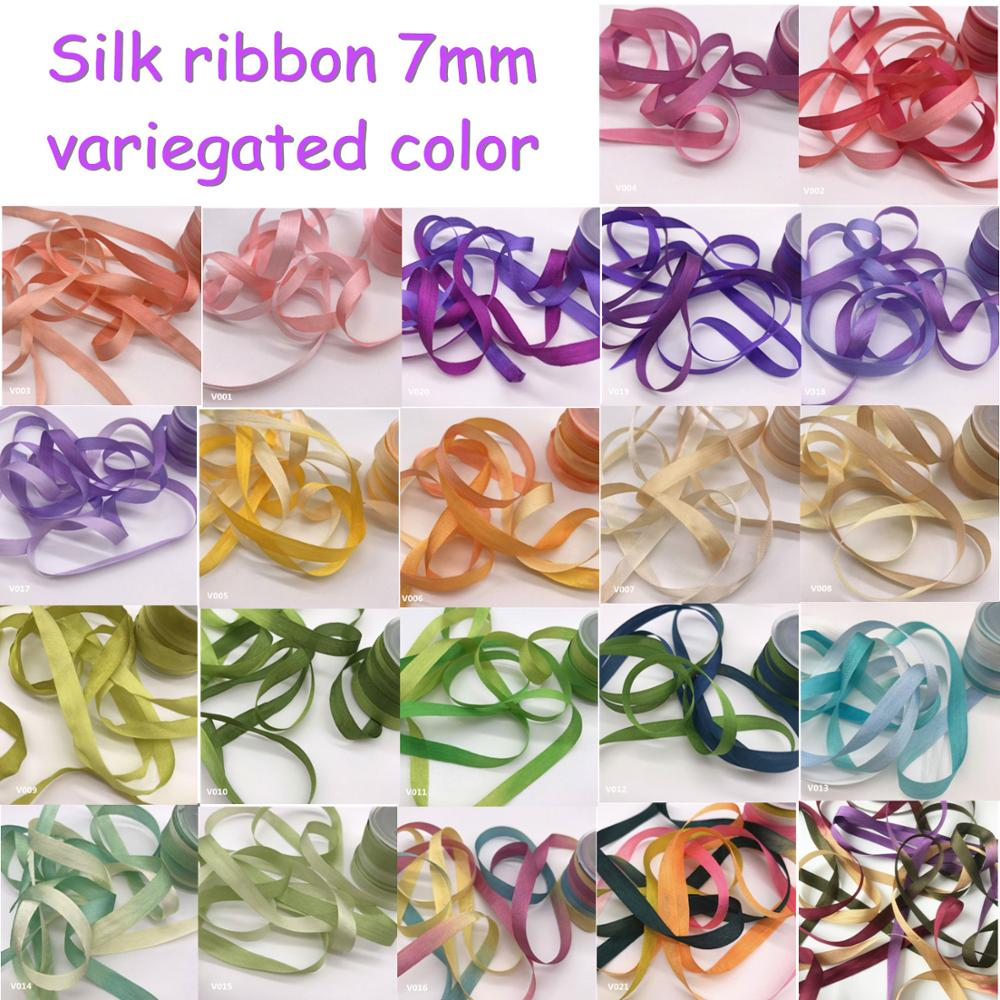 "100/%PURE SILK VARIEGATED EMBROIDERY RIBBON 1//8/"" WIDE 10 YD COLOR # 240 4MM"