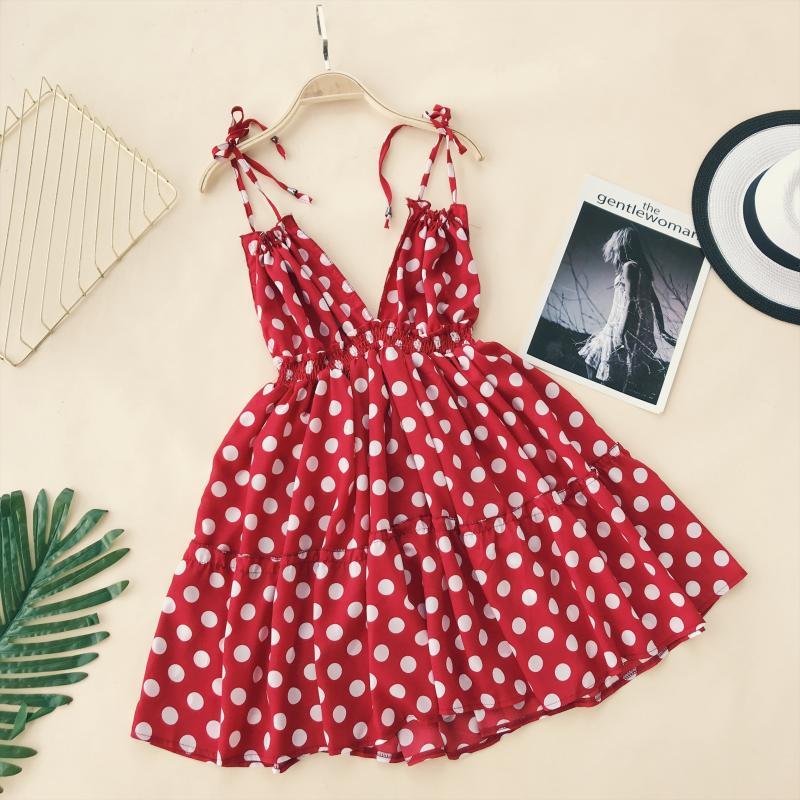 25087b4b4e Cuello Cintura Impreso Vestidos Mujeres blanco Sling Verano Negro Alta  Descubierta Vestido V Alphalmoda Dot Playa rojo Vacaciones Espalda ...