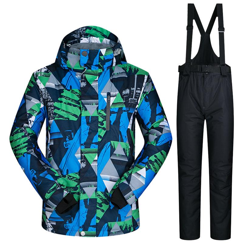 Men Snowboard Suits New Windproof Waterproof Warm Thicken Snow Pants And Jacket Ski Clothes Set LANCH Winter Ski Suit Men Brands